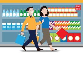Coppia shopping illustrazione vettore