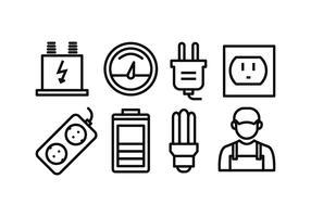 Elettricità Icon Pack vettore