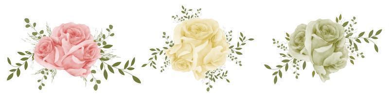 set bouquet di rose dell'acquerello vettore