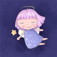 ragazza di angelo del fumetto con la bacchetta magica nel cielo stellato vettore