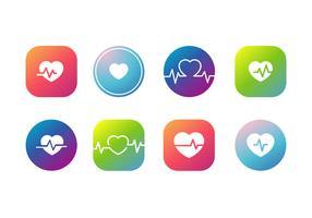 Vettori di icona del ritmo cardiaco