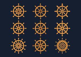 Collezione di icone di ruote di navi vettore