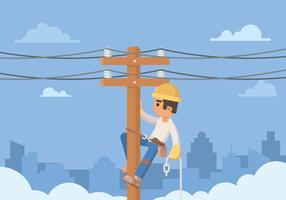 Elettricista che lavora al palo di cavo vettore