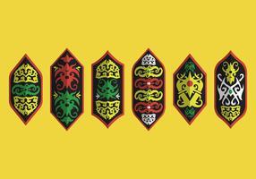 Collezione di motivi vettoriali Dayak Shield Tribal