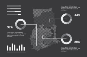 Ghana Mappa Infografica vettore