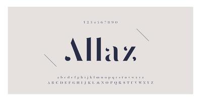 carattere di moda elegante con lettere e numeri