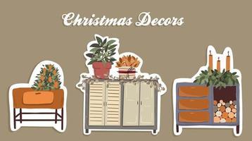 set di elementi decorativi di piante di natale