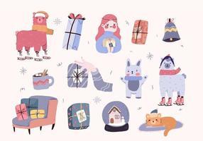 set di decorazioni per interni di elementi simpatici cartoni animati di Natale