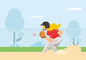Illustrazione del giocatore di softball vettore