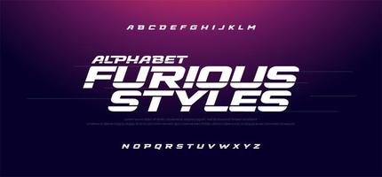 carattere sportivo moderno alfabeto corsivo