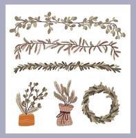 set di elementi decorativi di piante di natale vettore