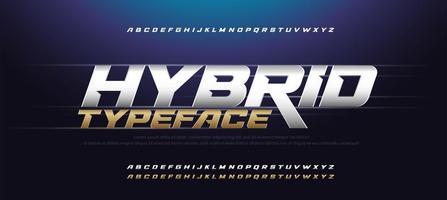 carattere sportivo moderno alfabeto corsivo oro e argento