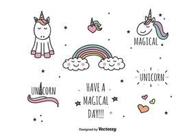 insieme magico di vettore di unicorno