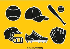 vettore di elemento silhouette di softball