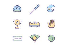 Icone softball gratuite vettore