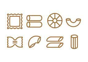 Set di icone di pasta vettore