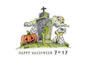 Cimitero con lapide e vettore di mano zombie verde