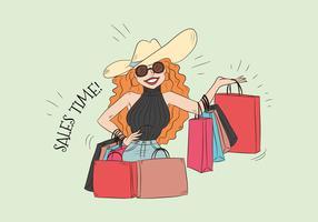 Donna sveglia di vettore che tiene molti sacchetti della spesa