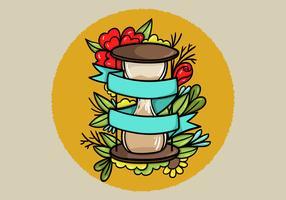 Clessidra Banner Tatto Style Art vettore