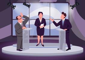 scena del dibattito televisivo vettore