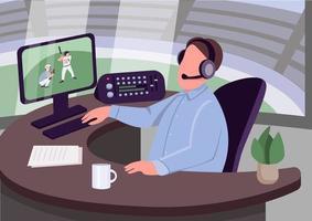 commentatore sportivo sul posto di lavoro