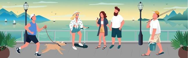 persone che camminano sulla banchina