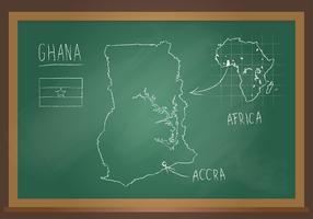 Vettore del bordo del nero del gesso della mappa del Ghana