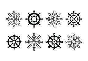 Icone set di ruote di nave vettore