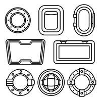 Icone di vettore di finestra della nave