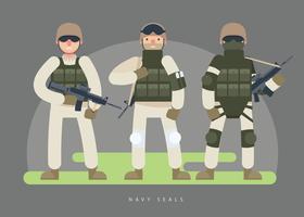 Illustrazione piana di vettore del carattere dell'esercito delle guarnizioni della marina