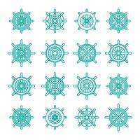 Set lineare di icone delle ruote di navi