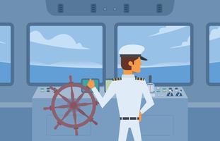 Vettore del capitano Holding Ship Wheel della nave