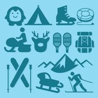 Vettore libero delle icone di sport invernali e di attività invernali