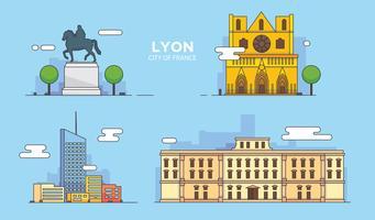 Illustrazione di vettore della città della costruzione del punto di riferimento di Lione