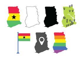 Ghana mappa imposta icone vettore