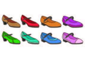 Insieme dell'icona di scarpe da toccare femminile vettore