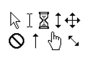 Pixel Free Vector dei puntatori del mouse sopra