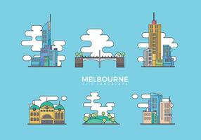 Illustrazione piana di vettore del paesaggio della città di Melbourne