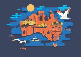 Melbourne Mappa vettoriale