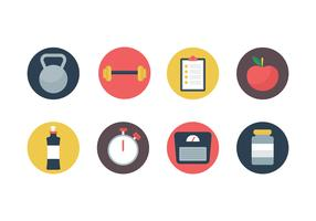 Icone piane di vettore di forma fisica e palestra gratis