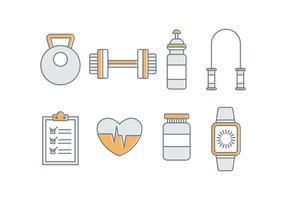 Icone vettoriali gratis fitness e palestra