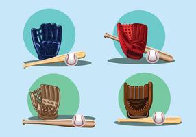 Set di guanto da baseball con icona della sfera vettore