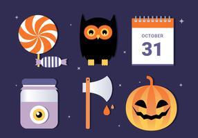 Icone e elementi di Halloween vettoriali gratis Design piatto