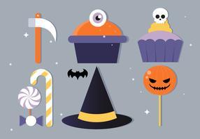 Illustrazione di vettore di design piatto gratuito Halloween elementi