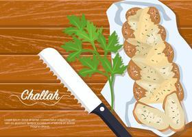 Tagliare il pane Challah vettore