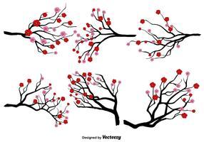 Insieme giapponese di vettore del fiore della prugna