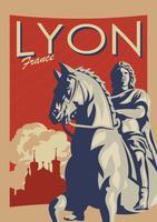 Vettore d'annata del manifesto di Lione Francia