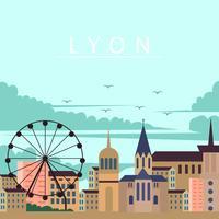 Città di Lione nell'illustrazione di sera