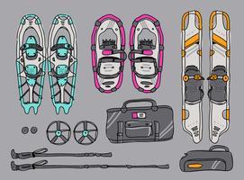Illustrazione disegnata a mano di vettore del kit delle racchette da neve