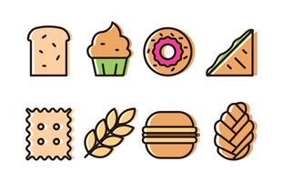 Set di icone di panetteria vettore